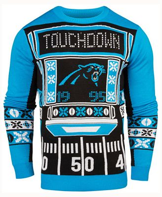 Forever Collectibles Mens Carolina Panthers Light Up Ugly Crew Neck