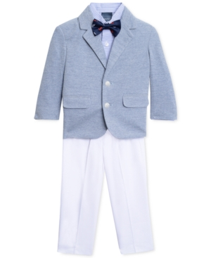 1930s Childrens Fashion: Girls, Boys, Toddler, Baby Costumes Nautica 4-Pc. Soft Suit Jacket Stripe Shirt White Pants  Bowtie Set Toddler  Little Boys 2T-7 $49.99 AT vintagedancer.com