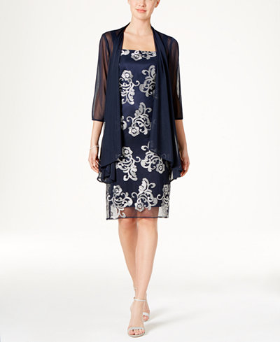 R Amp M Richards Floral Embroidered Dress And Jacket