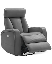Dasia Leather Swivel Rocker Power Recliner With Articulating Headrest And  USB Power Outlet