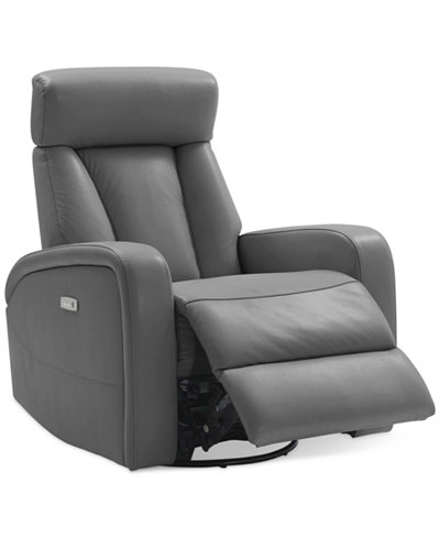 Dasia Leather Swivel Rocker Power Recliner With