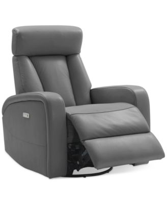 dasia leather swivel rocker power recliner with headrest and usb power outlet
