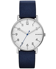 Skagen Men's Signature Blue Nylon Strap Watch 40mm SKW6356