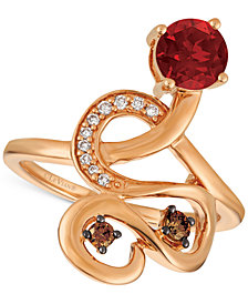 Le Vian Chocolatier® Raspberry Rhodolite® (9/10 ct. t.w.) and Diamond (1/6 ct. t.w.) Ring in 14k Rose Gold