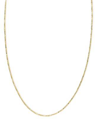 "14k Gold Necklace, 16-20"" Diamond Cut Box Chain (5/8mm)"