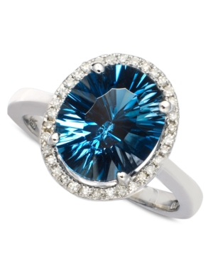 London Blue Topaz (4 ct. t.w.) and Diamond (1/8 ct. t.w.) Oval Ring in 14k White Gold