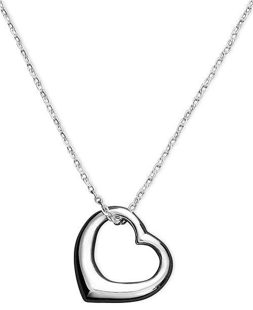 Unwritten Heart Necklace, Sterling Silver Open Heart