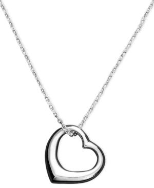 Unwritten Heart Necklace, Sterling Silver Open Heart