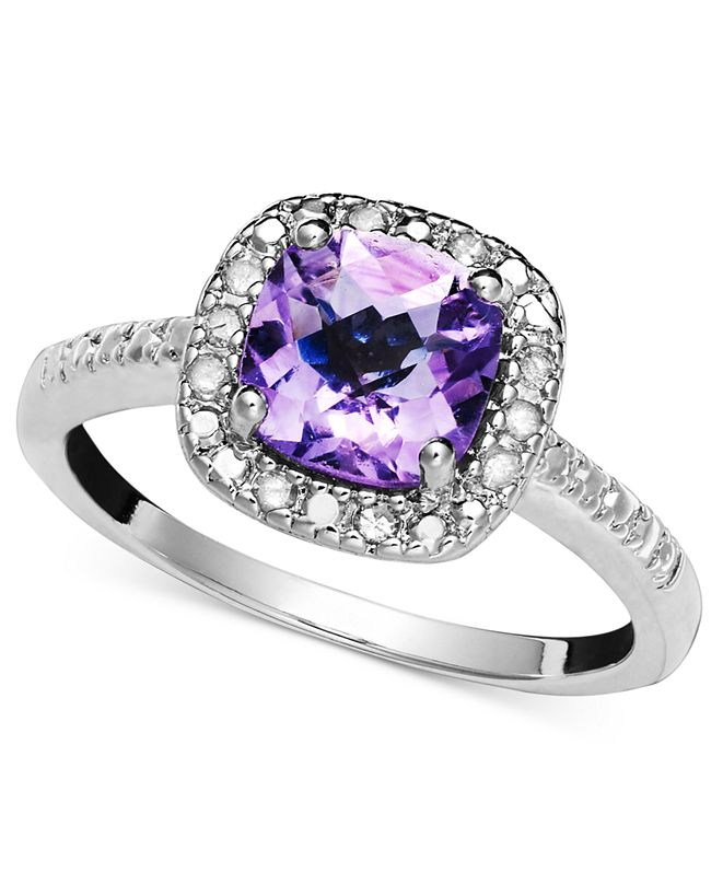 Victoria Townsend Sterling Silver Ring, Purple Amethyst (1-1/4 ct. t.w.) and Diamond (1/10 ct. t.w.)