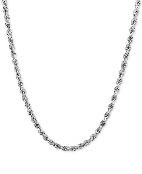 Macy's Rope Chain Necklace (2-1/2mm) in 14k White Gold
