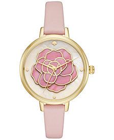 kate spade new york Women's Metro Atlas Pink Leather Strap Watch 34mm KSW1257