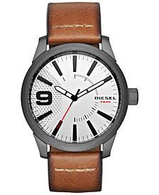 Diesel Men's Brown Leather Strap Watch 46x53mm DZ1803
