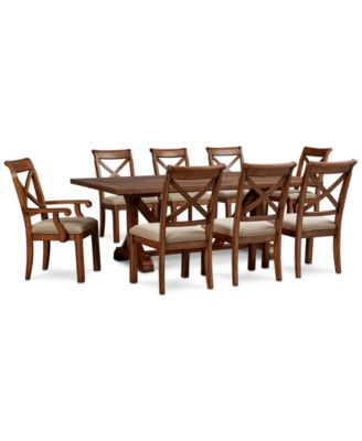 Mandara Rectangle Furniture, 9-Pc. Set (Dining Trestle Table, 6 X-Back Side Chairs & 2 X-Back Arm Chairs)