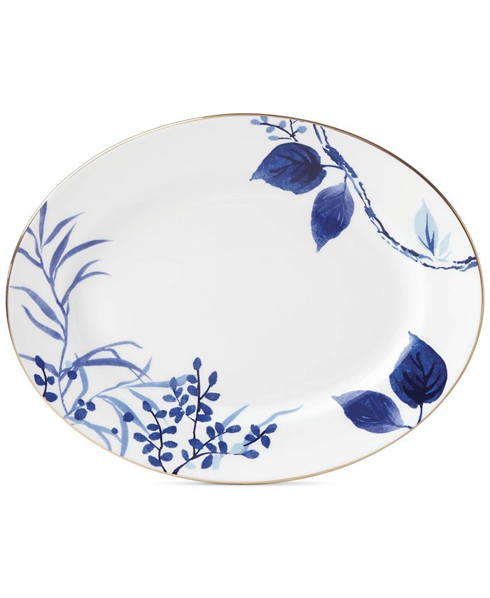"""kate spade new york - Birch Way Navy Collection 13"""" Oval Platter"""