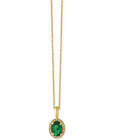 EFFY® Brasilica Emerald (3/4 ct. t.w.) and Diamond Accent Pendant Necklace in 14k Gold, Created for Macy's