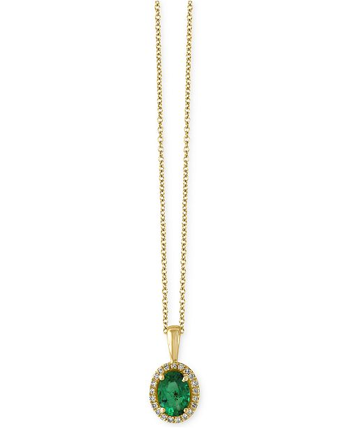 EFFY Collection EFFY® Brasilica Emerald (3/4 ct. t.w.) and Diamond Accent Pendant Necklace in 14k Gold, Created for Macy's