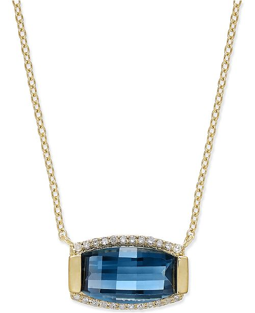 Macy's Blue Topaz (3 ct. t.w.) and Diamond (1/8 ct. t.w.) Pendant Necklace in 14k Gold Over Sterling Silver