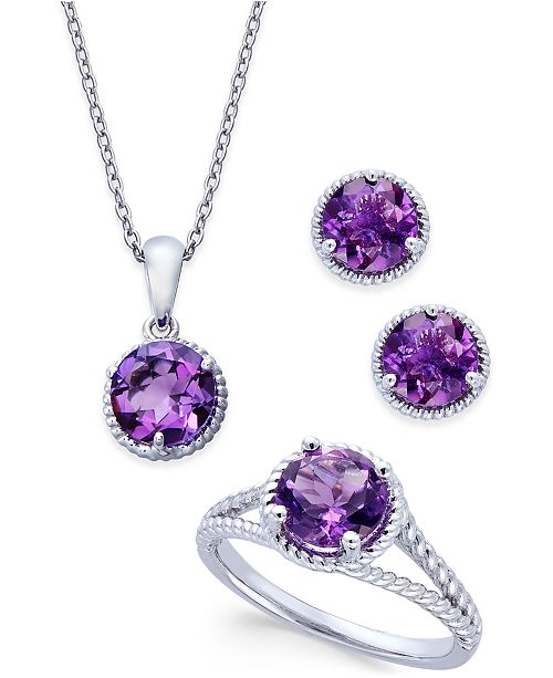 Macy's Amethyst Rope-Style Pendant Necklace, Stud Earrings and Ring Set (4 ct. t.w.) in Sterling Silver