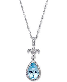 Aquamarine (1-1/4 ct. t.w.) and Diamond (1/6 ct. t.w.) Fleur-De-Lis Teardrop Pendant Necklace in 14k White Gold