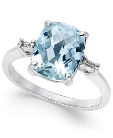Aquamarine (2-1/2 ct. t.w.) and Diamond Accent Ring in Sterling Silver