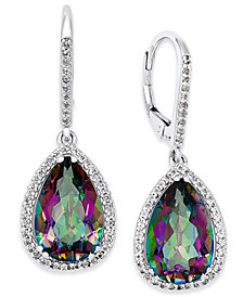 sterling rainbow mystic earring gemstone silver topaz earrings pin stud