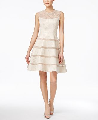 JAX Beaded Embossed Illusion Fit & Flare Dress