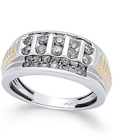 Men's Diamond Cluster Two-Tone Ring (1 ct. t.w.) in 10k Gold and White Gold