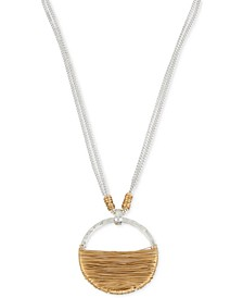 Two-Tone Wire-Wrapped Pendant Necklace
