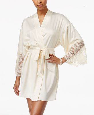Flora by Flora Nikrooz Erin Lace-Trimmed Charmeuse Wrap Robe