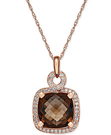 Smoky Quartz (6-1/6 ct. t.w.) and Diamond (1/3 ct. t.w.) Pendant Necklace in 14k Rose Gold