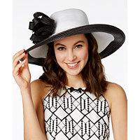 August Hats Hibiscus Romantic Brim Hat (WHite)