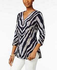 JM Collection Petite Zebra-Print Tunic, Created for Macy's