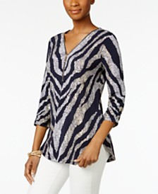 JM Collection Zip Print Top, Created for Macy's