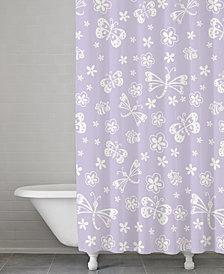 Kassatex Kassa Kids Cotton Butterfly Shower Curtain