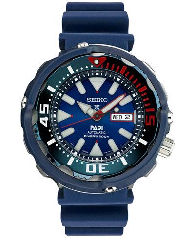 Seiko Men's Automatic Prospex Diver PADI Special Edition Blue Silicone Strap Watch 50mm SRPA83