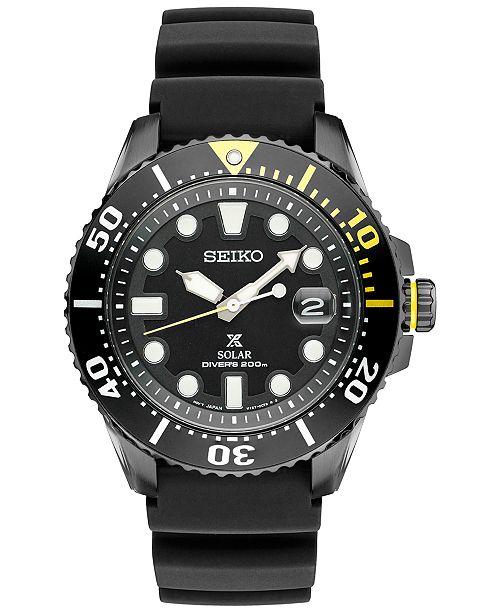 Seiko Men's Prospex Solar Diver Black Silicone Strap Watch 43mm SNE441