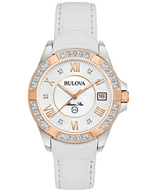 Bulova Women's Diamond Accent Marine Star White Leather Strap Watch 32mm 98R233