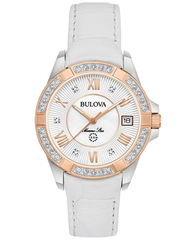Bulova Women's Diamond Accent Marine Star White Leather Strap Watch 32mm 98R233