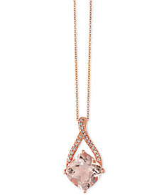EFFY® Blush Morganite (2-5/8 ct. t.w.) and Diamond Accent Pendant Necklace in 14k Rose Gold