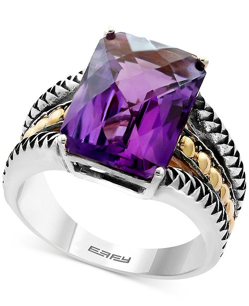 EFFY Collection EFFY® Balissima Amethyst Statement Ring (5-1/4 ct. t.w.) in Sterling Silver and 18k Gold