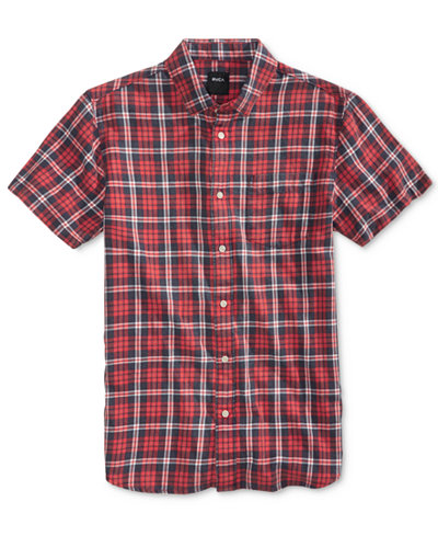 RVCA Men's Sid Cotton Plaid Shirt - Casual Button-Down Shirts ...