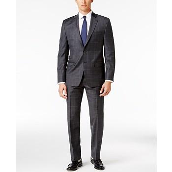 Ralph Lauren Men's Classic-Fit Gray Windowpane UltraFlex Suit