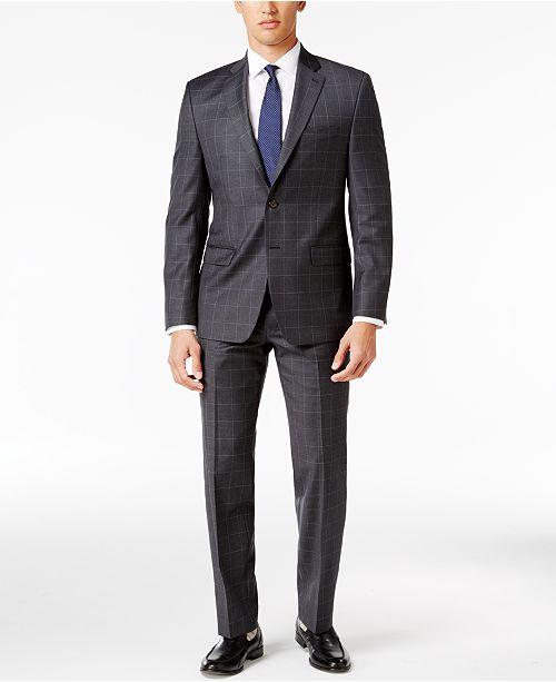 Lauren Ralph Lauren Men's Classic-Fit Gray Windowpane UltraFlex Suit