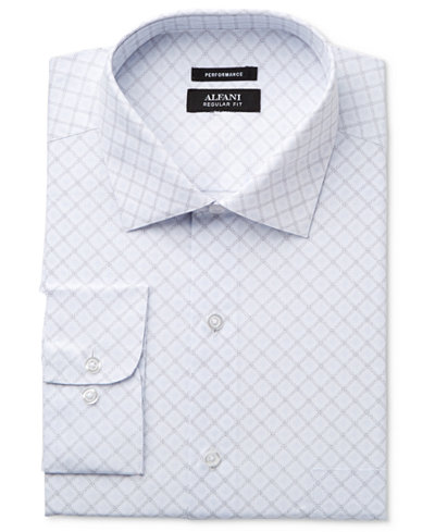 Alfani Men's Classic-Fit Performance Stretch Easy Care Diamond Dress Shirt, Created for Macy's