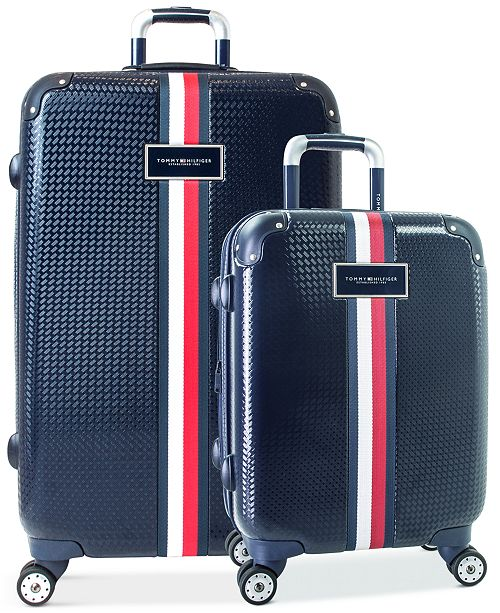 Tommy Hilfiger CLOSEOUT! Basketweave Hardside Spinner Luggage