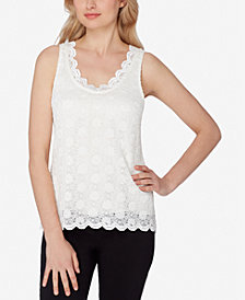 Tahari ASL Scalloped Lace Top