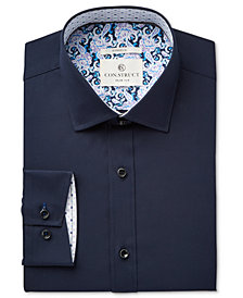 Con.Struct Men's Fitted Stretch Navy Poplin Dress Shirt