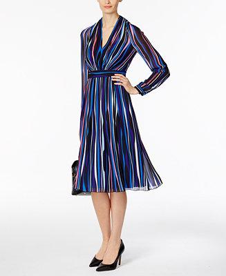 Anne Klein Striped Fit Amp Flare Dress Amp Reviews Dresses