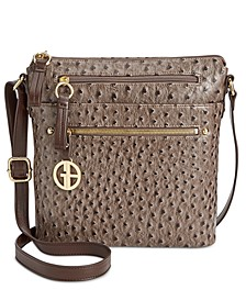 Embossed Faux Ostrich Crossbody, Created for Macy's