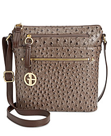 Giani Bernini Embossed Faux Ostrich Crossbody, Created for Macy's